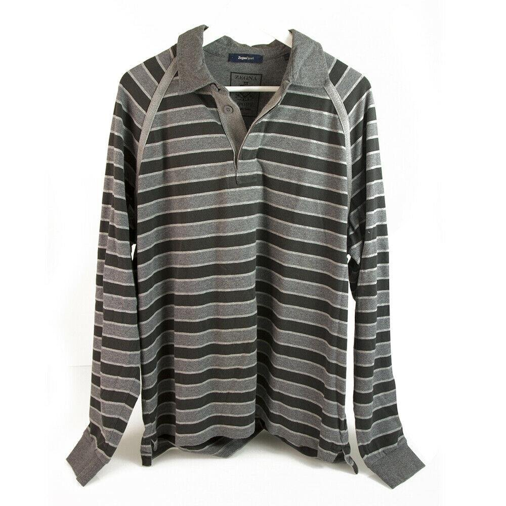 Zegna Sport Two Tone Gray Stripes Long Sleeve Cotton