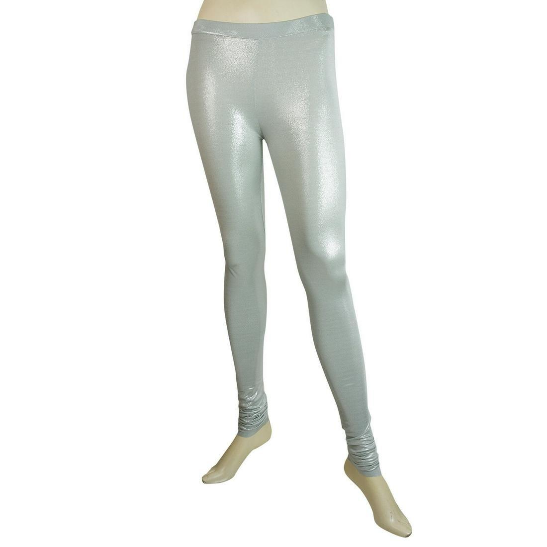 Delphine Murat Sky Blue Glittery Shiny Leggings