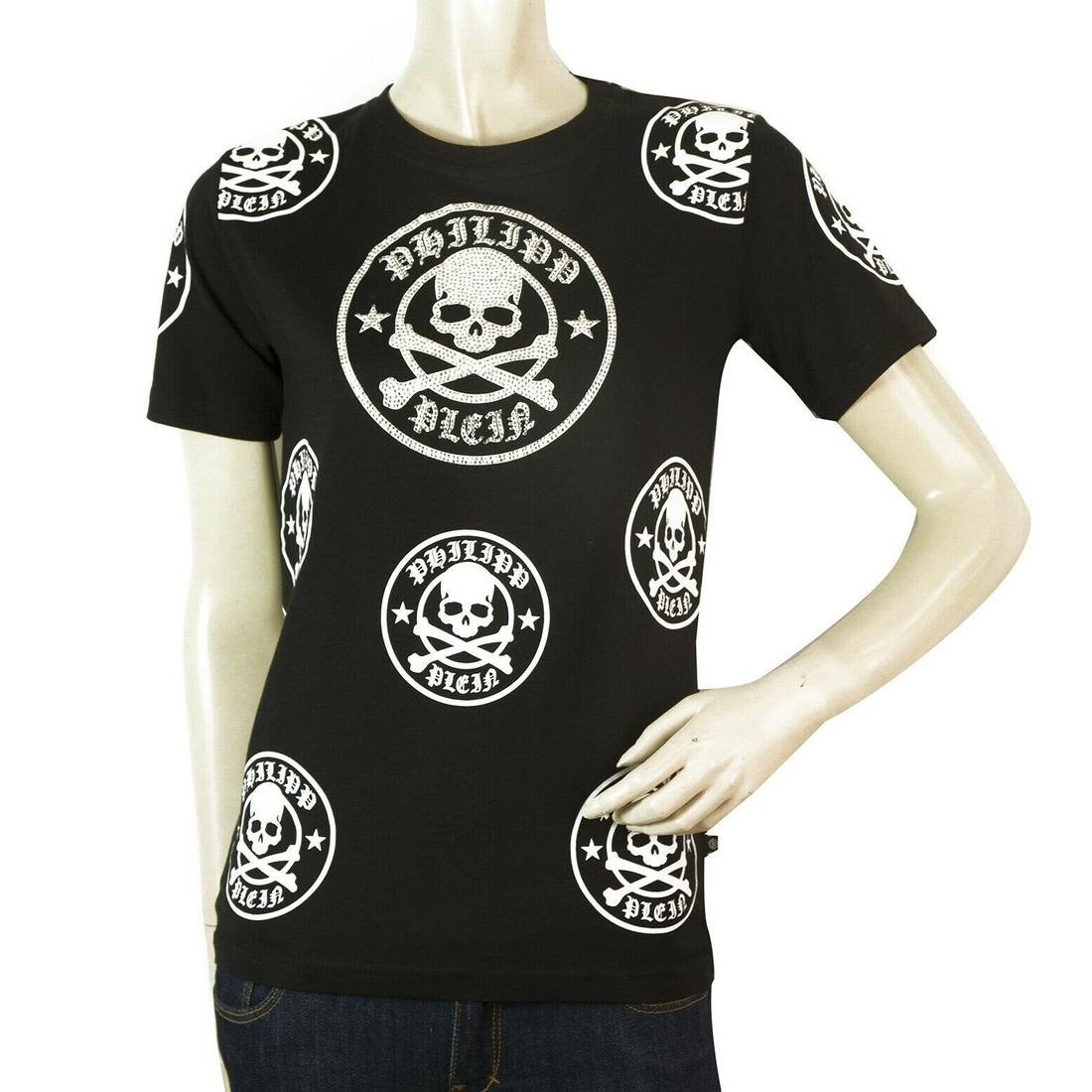Philipp Plein Junior Black Skulls Top Cotton T - Shirt