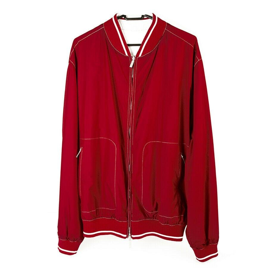 Canali Red & Cream Reversible Bomber Style Zipper
