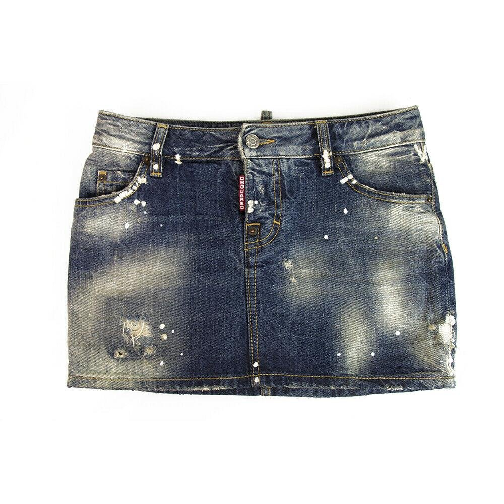 DSquared 2 Blue Denim washed out Trimming Mini Skirt IT