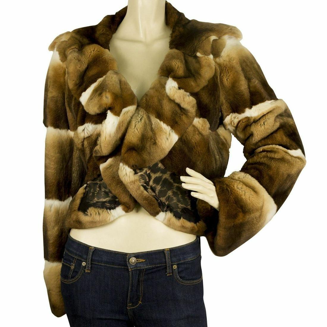 Roberto Cavalli Chinchila Brown Beige Fur Short Jacket