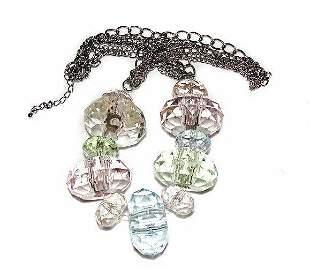 Bold Statement Necklace Neck Chain Pastel Translucent