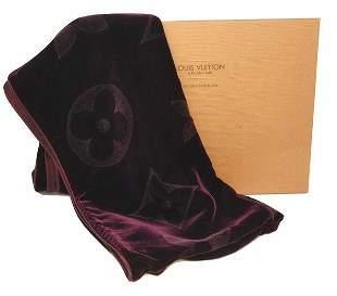 Louis Vuitton Rare Purple Velvet Shawl Scarf with Box