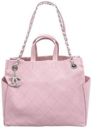 Chanel CC Pocket Pink Caviar Leather Shoulder Bag