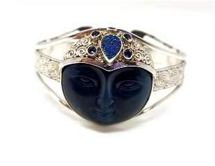 Sajen Carved Goddess Cuff 925 Silver Offerings Bracelet