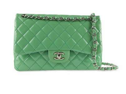 Chanel Double Flap Quilted Jumbo Green Patent Leather