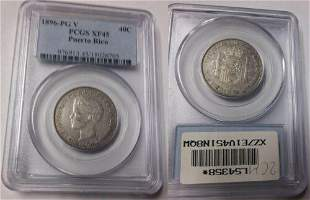 1896PG V Puerto Rico Silver 40 Centavos PCGS XF 45