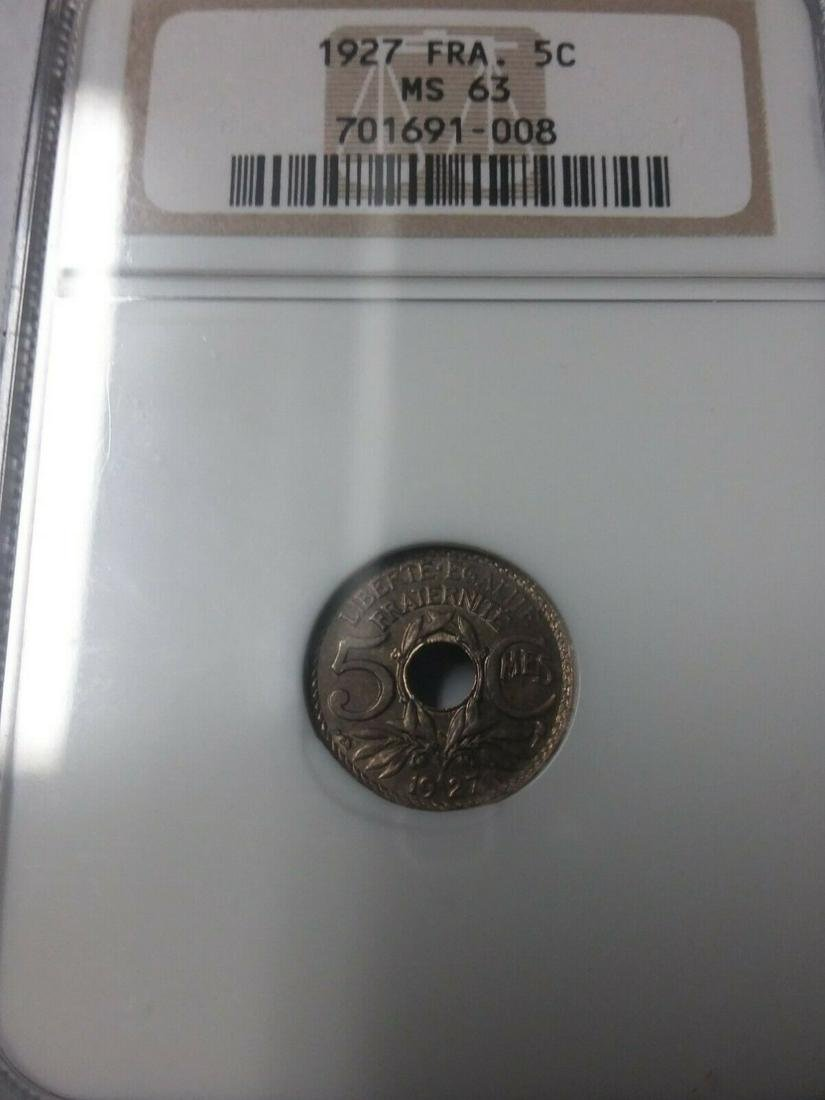 Rare 1927 France 5 Centimes NGC MS 63-catalogs $180