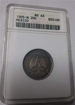 Rare 1905 Mexico 20 centavosEagle SnakeANACS MS63