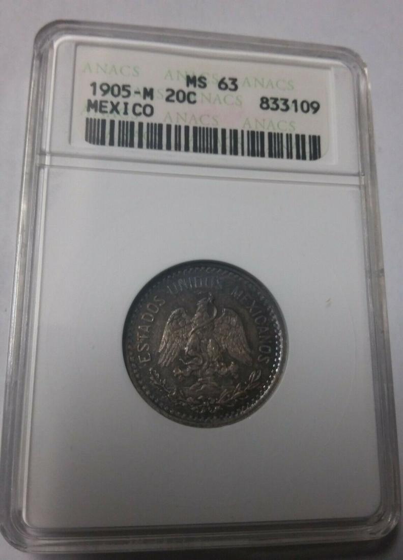 Rare 1905 Mexico 20 centavos-Eagle; / Snake-ANACS MS-63