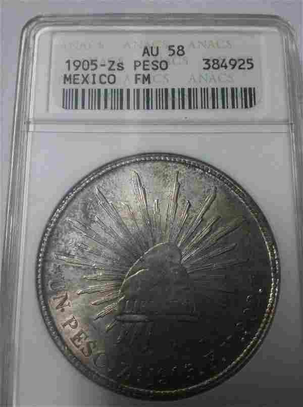 Rare 1905 ZS Mexico Large PesoCapRays Eagle