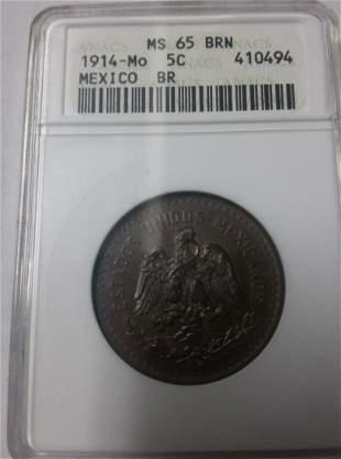 Rare 1914 Mexico 5 centavosEagle SnakeANACS MS 65