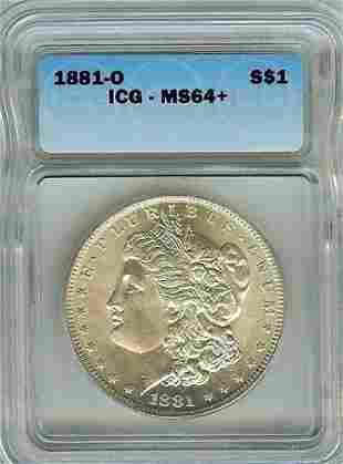 1881-O USA Morgan 1$- Nice BU- ICG MS 64+