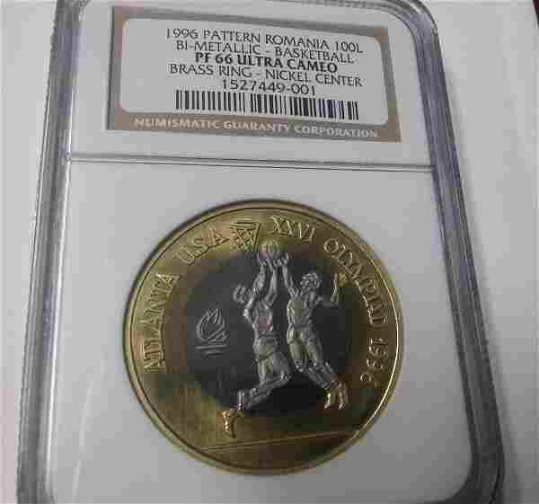 Rare 1996 Romania Bi-Metal 100 L Pattern Olympic