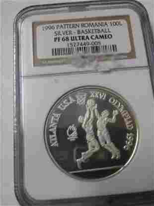 Rare 1996 Romania Silver 100 L Pattern Olympic
