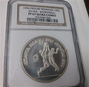 Rare 1996 Romania Silver 100 L Piedfort Olympic