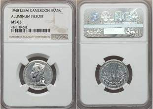 Rare 1948 Cameroon French Mandate aluminum Piefort