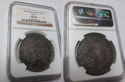 Rare 1870(M3) Japan Large Silver 1 Yen NGC AU 50