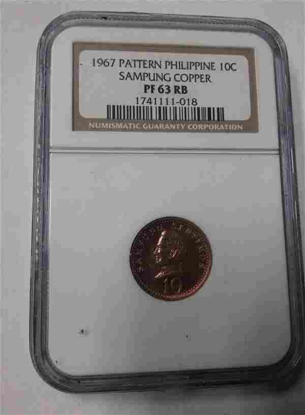 Rare 1967 Philippines 10 c Sampung pattern NGC PF 63