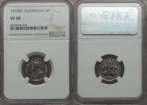 Rare 1918 Australia Silver 6 P- NGC VF 30