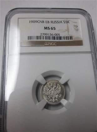 Russia 1909 SPB-EB 5 Kopecks NGC MS 65 Rare date/