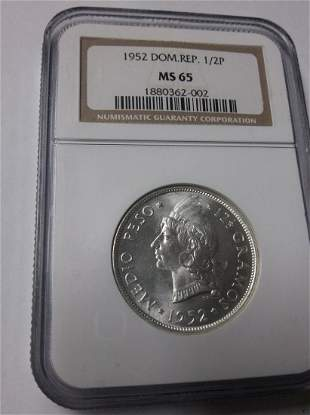 1952 Dominican Rep Silver 12 Peso NGC MS 65