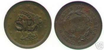 Rare USA half cent 1851 trade token Z80M NGC 63