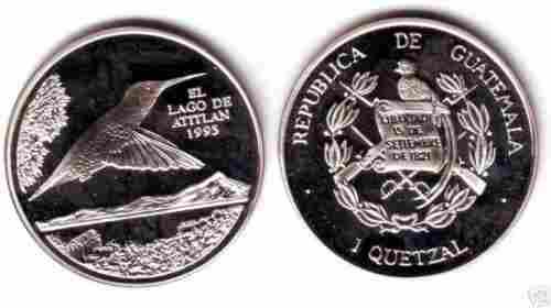 Rare 1995 Guatemala Silver 1Q Collibri pattern,mntg 150