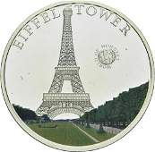 2010 Palau Large Proof Color Silver $5 Eiffel Tower