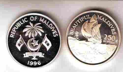 EX.Rare 1996 Maldives Piedfort Fish Ship Pattern,mntg 4