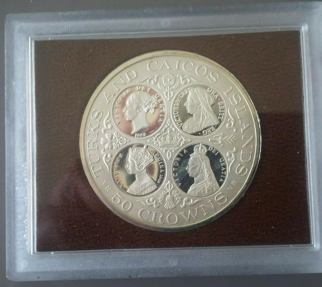 1976 Turks Caicos Very Large 50 mm Proof Silver 1.64 OZ