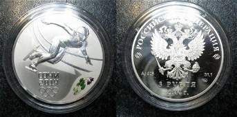2014 Russia Large Silver 1 OZ Proof 3 Roubles Sochi