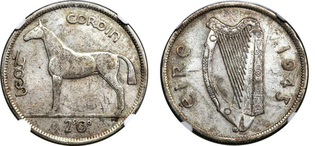 Very Rare 1943 Ireland Silver 1/2 Crown Horse/Harp-