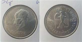 Rare 1932 G Germany Weimar Rep Silver 3 marks Goethe-