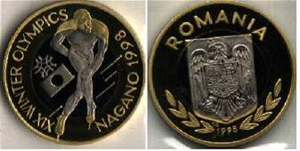 Rare 1998 Romania Bi-Metal 100 L pattern Olympic Skater
