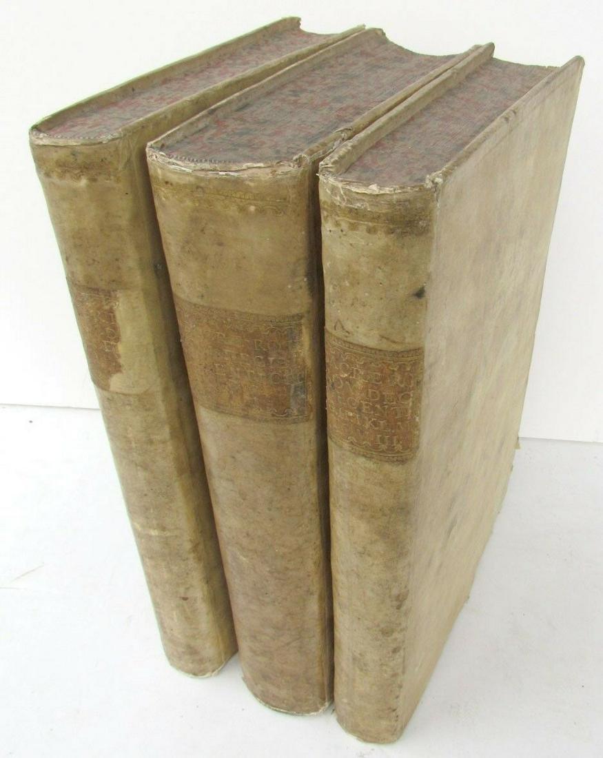 LOT OF 3 1730-31 ANTIQUE VELLUM BOUND FOLIOS 9.5 x
