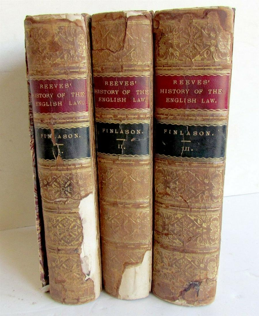 1869 3 volumes REVEES' HISTORY OF ENGLISH LAW by