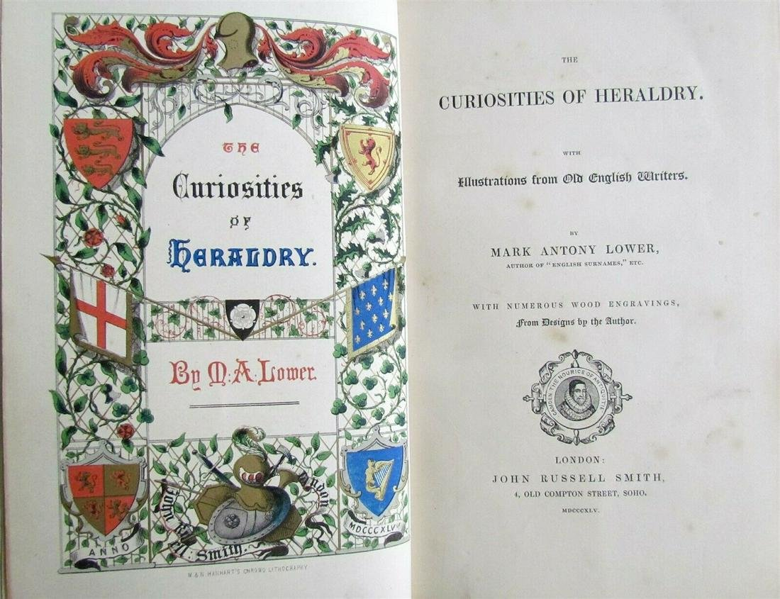 1845 CURIOSITIES OF HERALDRY by MARK ANTONY LOWER
