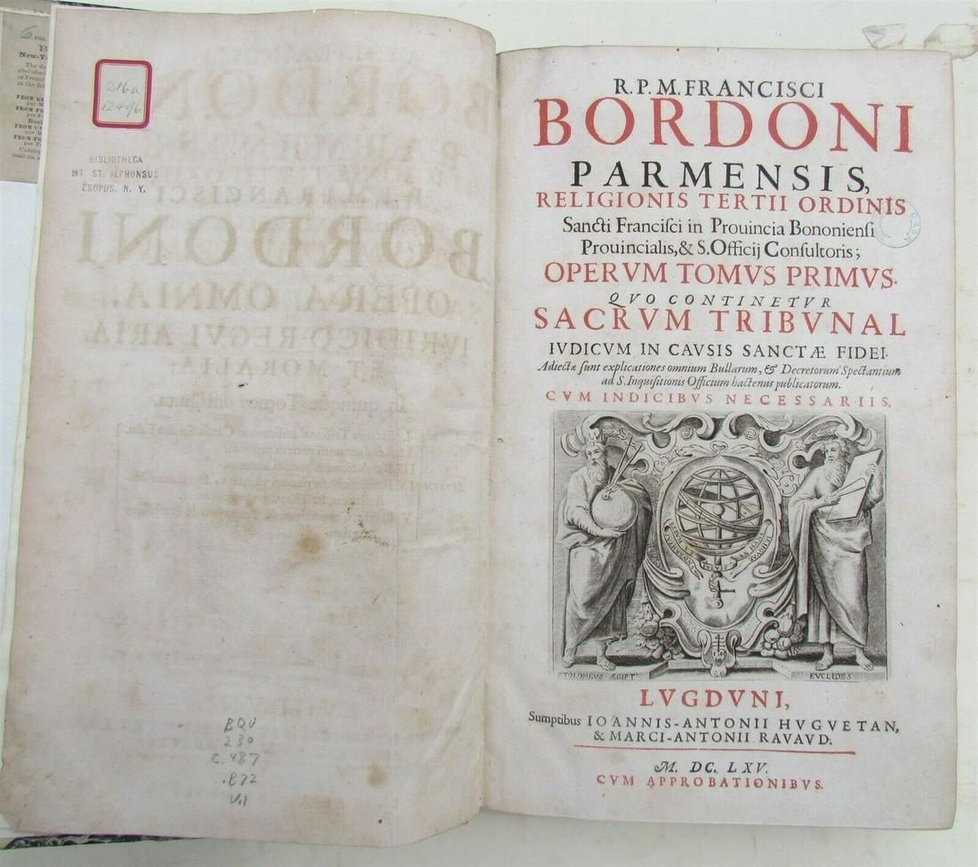 1665 VELLUM SPINE FOLIO PARMENSIS FRANCISCI BORDONI