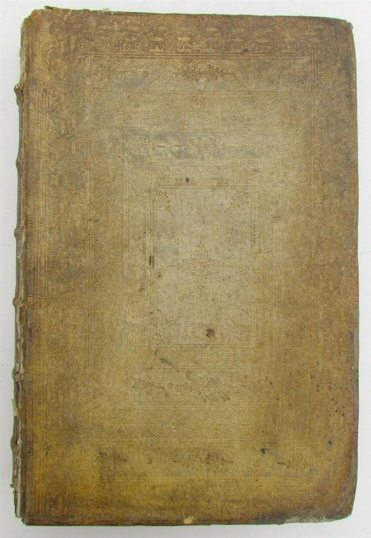 1718 ANTIQUE BLIND-STAMPED PIGSKIN BOUND FOLIO SACRORUM