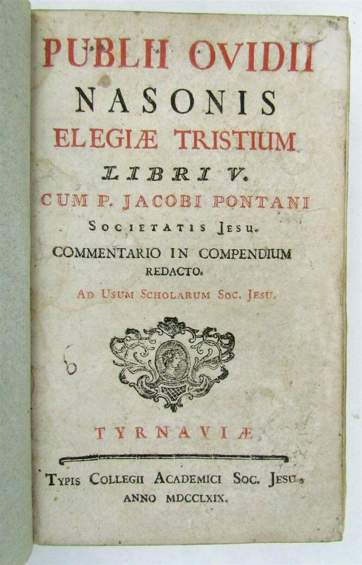 1769 PUBLII OVIDII NASONIS ELEGUAE TRISTIUM JESUIT