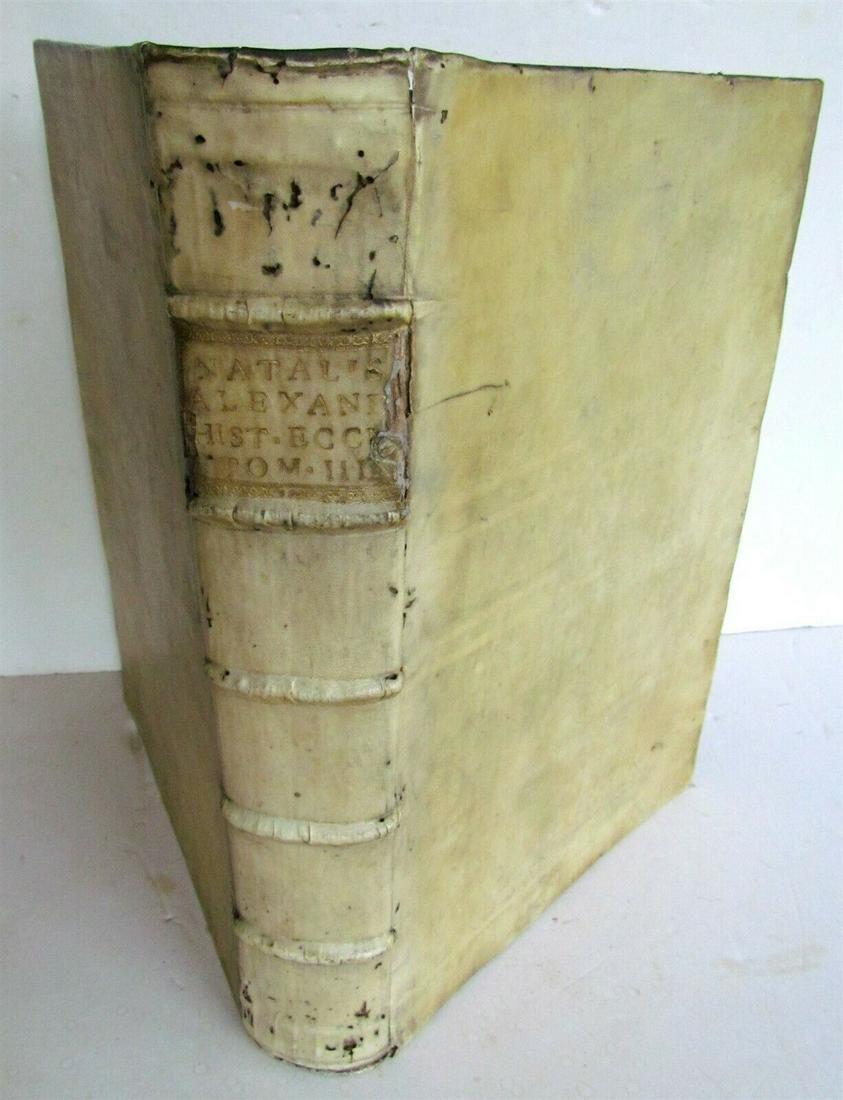 1734 VELLUM BOUND ANTIQUE FOLIO R.P. ALEXANDRI HISTORIA