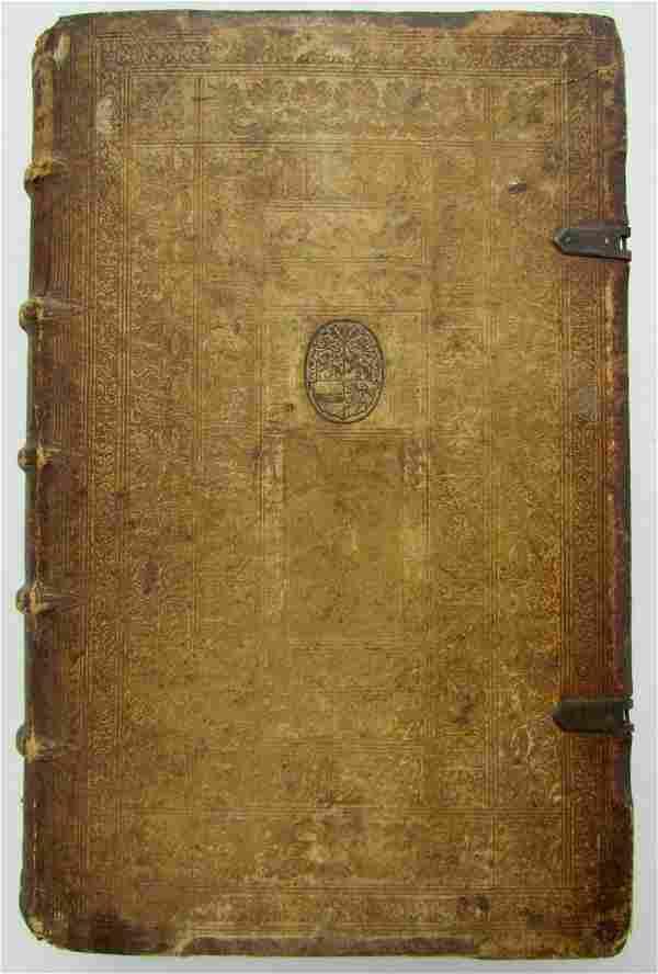 1593 JESUIT BLIND-STAMPED PIGSKIN BOUND ANTIQUE FOLIO