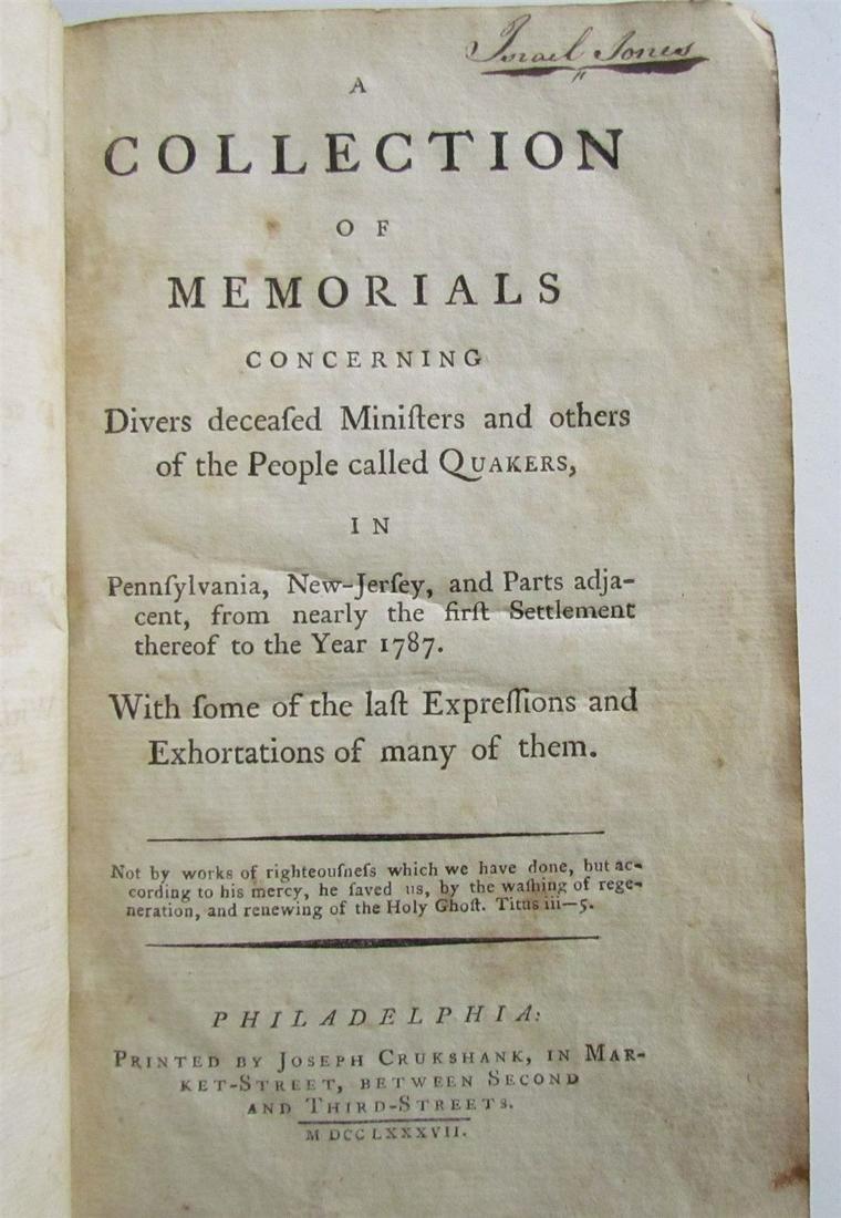 1787 AMERICANA PHILADELPHIA COLLECTION OF MEMORIALS