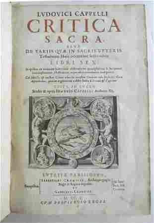 1650 CRITICA SACRA by LUDOVICI CAPELLI LEATHER BOUND