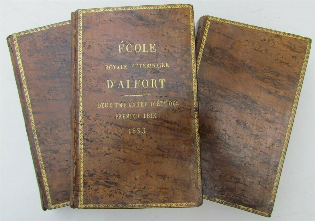 1833 FRENCH VETERINARY MEDICINE 3 volumes antique PLANT