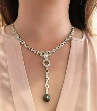 Reversible Black Pearl Drop Diamond Link Necklace in