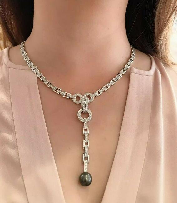 Reversible Black Pearl Drop Diamond Link Necklace in