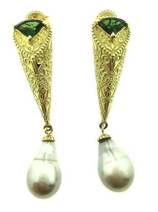 Green Tourmaline and Baroque Pearl Drop Earrings in 18k